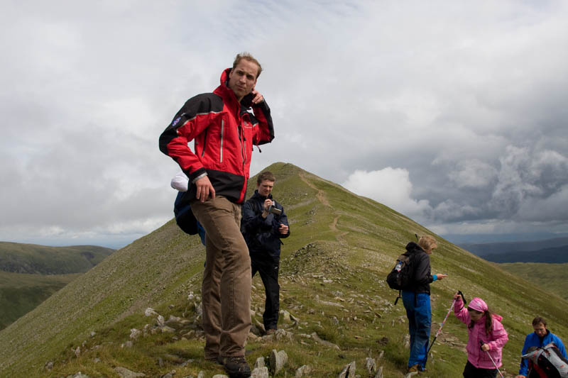 Prince William with members of Centrepoint during his ascent of Helvellyn